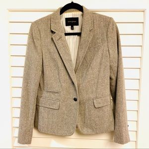 BANANA REPUBLIC  HEATHER GREY WOOL TWEED BLAZER